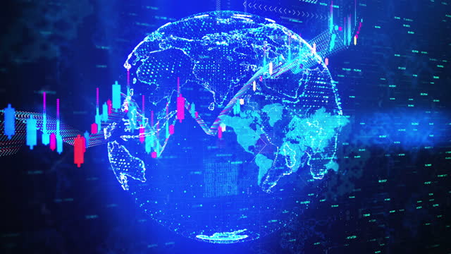 business exchange currency chart background 4k world map - stability stock videos & royalty-free footage