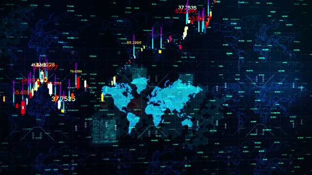 business exchange currency chart background with world map 4k - line graph stock videos & royalty-free footage