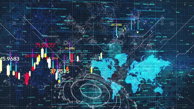 vidéos et rushes de fond de diagramme de devise d'échange d'affaires avec la carte du monde 4k - échange commercial
