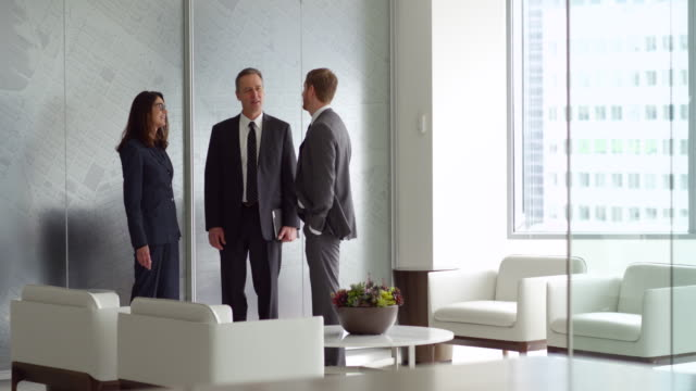 ms business executives in discussion during meeting in office lobby - 3人点の映像素材/bロール