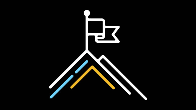 Business Goals Statement Line Icon Animation with Alpha