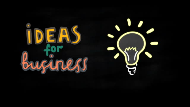 business idea concept on black chalkboard - inspiration board stock videos and b-roll footage