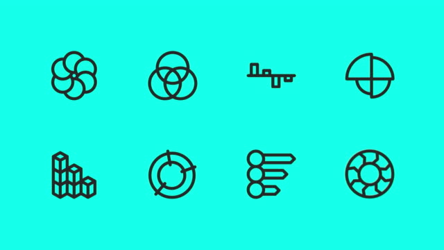 business infographic icons - vector animate - outline stock videos & royalty-free footage