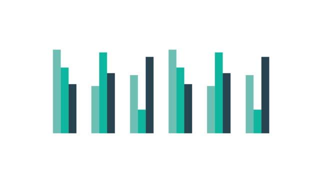 vidéos et rushes de infographies d'affaires éléments, graphique à barres et graphiques ascendants linéaires en blanc. loopable. - diagramme en bâtons