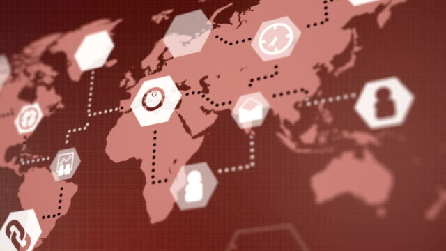 vídeos y material grabado en eventos de stock de negocio mundial de infografía mapa animado fondo rojo - diagrama circular