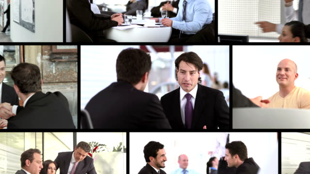 hd montage: business-interaktion - bildschirmwand stock-videos und b-roll-filmmaterial