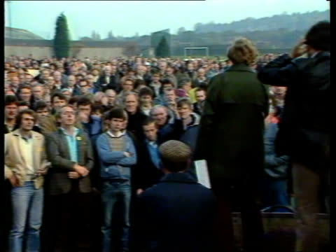 leyland; england, oxford, cowley gv massed workers as unnamed man addresses them with loudhailer sof: pull back as vote to strike taken zoom in l-r... - longbridge stock videos & royalty-free footage