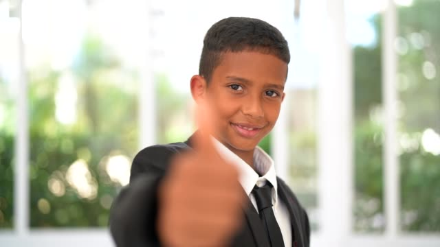 business little boy showing thumbs up - adult imitation stock videos & royalty-free footage
