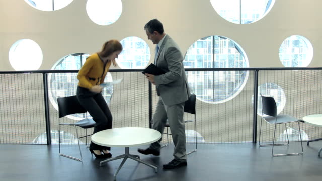 Business male and female meeting