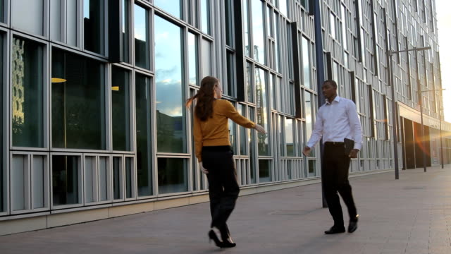 affari maschio e femmina riunioni - abbigliamento da lavoro formale video stock e b–roll