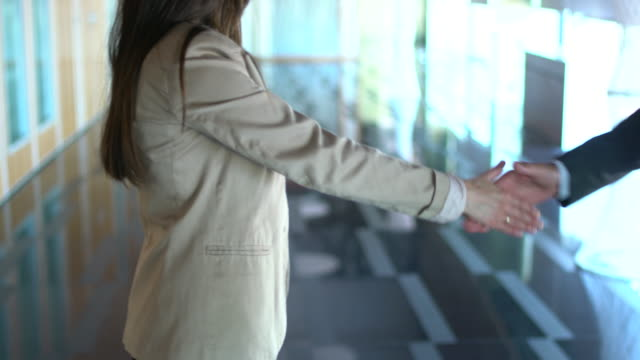 business man and woman hand shaking