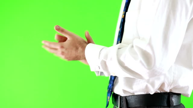 business man& businesswoman &green background - clapping hands stock videos & royalty-free footage