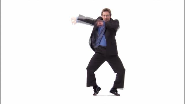 WS, business man dancing in studio