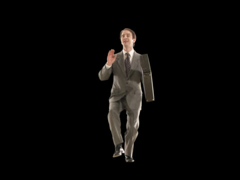business man dancing - this clip has an embedded alpha-channel - pre matted stock-videos und b-roll-filmmaterial