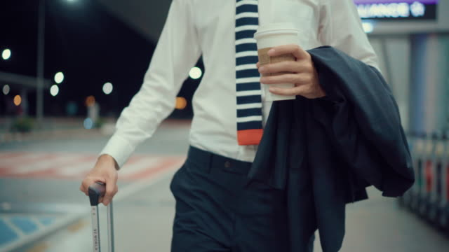 business man is dragging the luggage to back home - shirt and tie stock videos & royalty-free footage