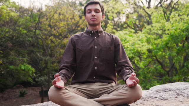 business man meditating at a park of india - banking stock videos & royalty-free footage