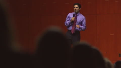ms ds business man speaking to audience / south orange, new jersey, usa - public speaker stock videos & royalty-free footage