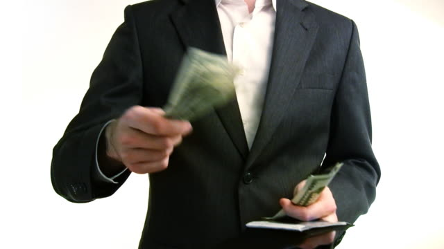 Business Man Spending and Receiving Cash HD