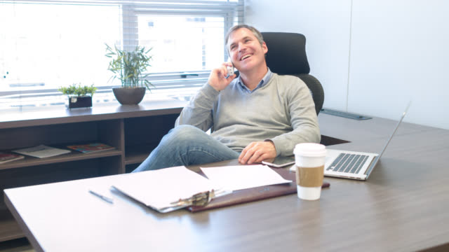 Business man talking on the phone at the office