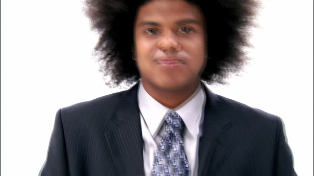 cu, business man with afro hair adjusting suit jacket, portrait - suit jacket stock videos & royalty-free footage