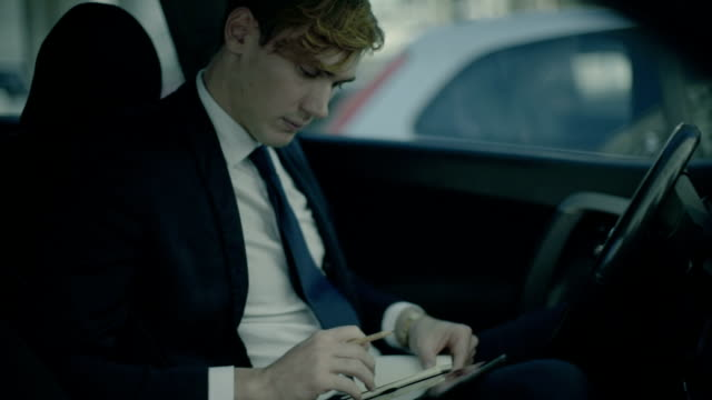 Business man working in a car