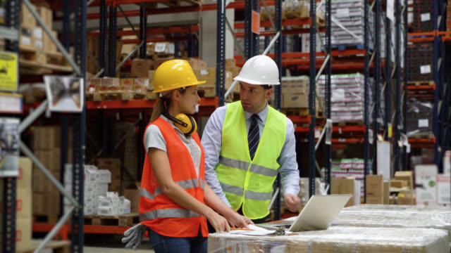 business manager discussing something with female warehouse supervisor while looking at laptop and pointing at a shelf - world trade organisation stock videos & royalty-free footage