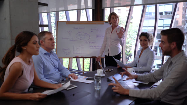 business manager explaining something to her team pointing at board while a male member clarifies something after looking at laptop - business strategy stock videos & royalty-free footage