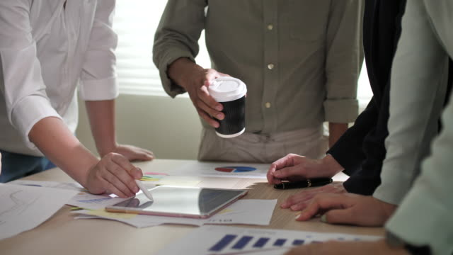 business meeting and analysing data - employee engagement stock videos & royalty-free footage