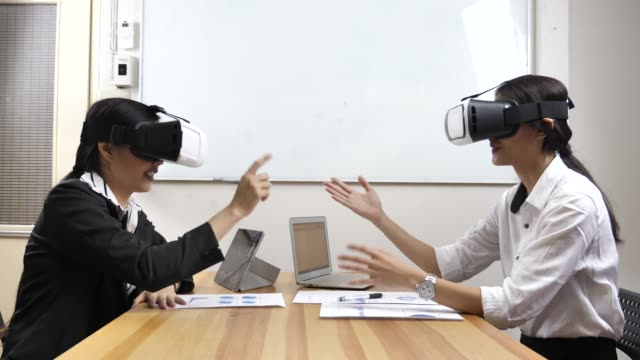 Business meeting with VR Glasses