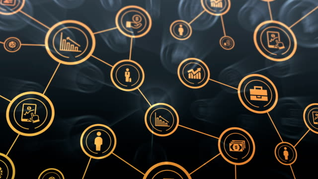 business network icons flying, shine, blue - offrire un servizio video stock e b–roll