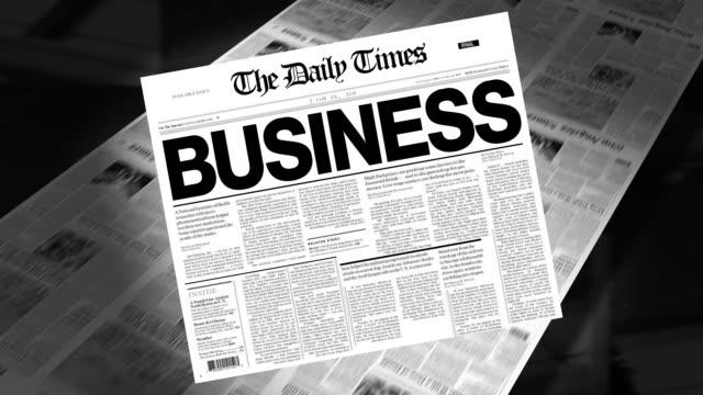 business - newspaper headline (intro + loops) - newspaper headline stock videos and b-roll footage