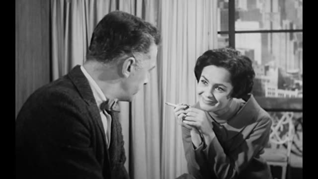 1959 business owner (susan cabot) asks executive opinion on royal wasp jelly - asking stock videos & royalty-free footage