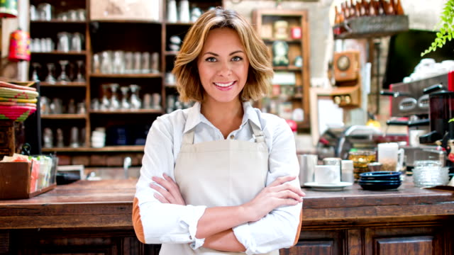 business owner at a coffee shop - waitress stock videos & royalty-free footage