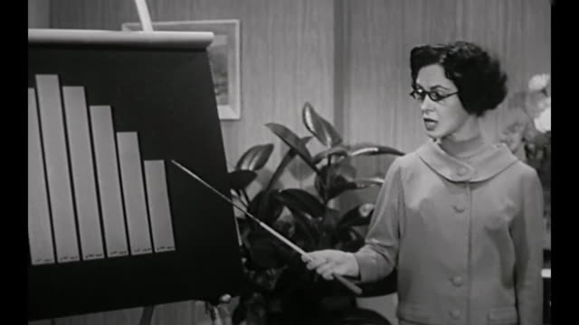stockvideo's en b-roll-footage met 1959 business owner (susan cabot) questions meeting room full of men about decline in company sales - uitverkoop