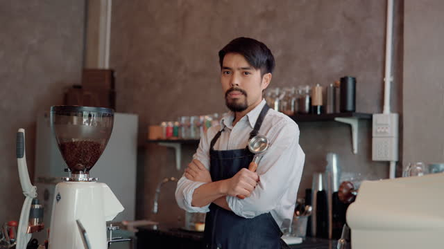 business owner standing at his coffee shop. - barista stock videos & royalty-free footage