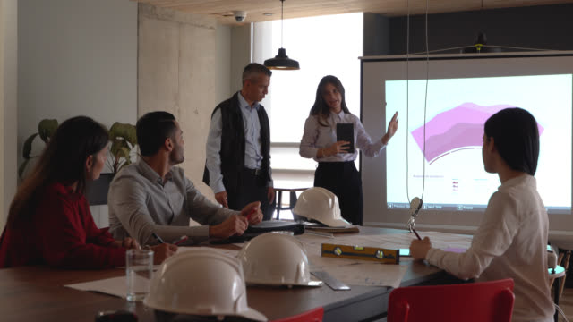stockvideo's en b-roll-footage met zakenpartners die een team van architecten en ingenieurs aanspreken om hen een project te laten zien - diavoorstelling