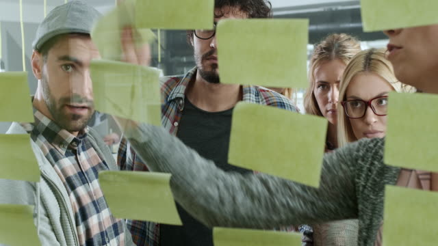 business people and sticky note on glass wall - flow chart stock videos & royalty-free footage