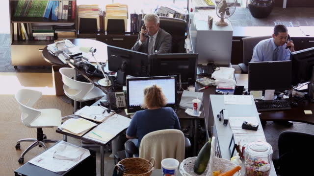 WS HA Business People at Desks Talking on Phones, Using Computers / Richmond, Virginia, USA