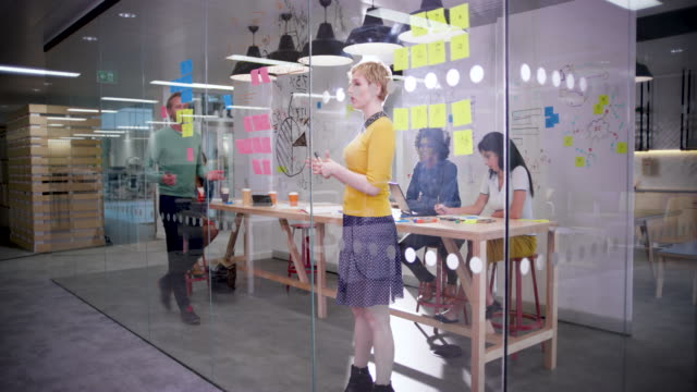 ws of business people brainstorming in creative office - glass material stock videos & royalty-free footage