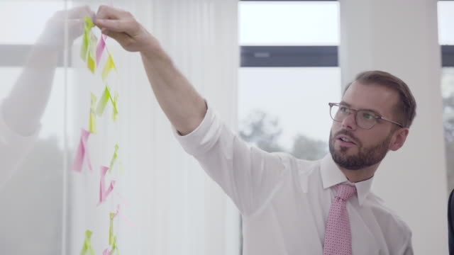 Business people brainstorming with sticking notes on a wall