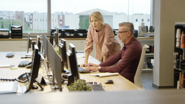 stockvideo's en b-roll-footage met mensen uit het bedrijfsleven bespreken over computer bureau - image
