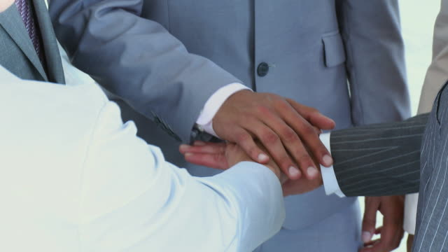 cu business people in huddle stacking hands / cape town, south africa - see other clips from this shoot 1790 stock videos & royalty-free footage