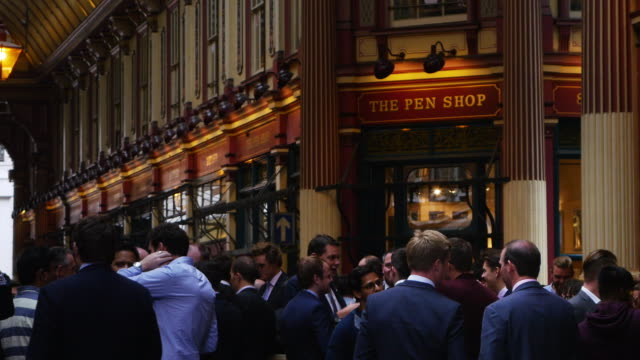 business people meeting for a drink in london leadenhall market - pub stock videos & royalty-free footage