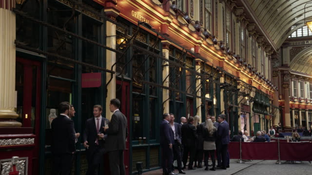 business people meeting in london leadenhall market - drinking stock videos & royalty-free footage