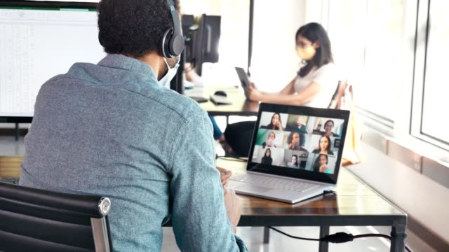 business people participate in virtual meeting - business meeting stock videos & royalty-free footage