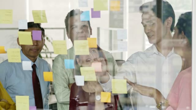 business people planning over adhesive notes - adhesive note stock videos & royalty-free footage