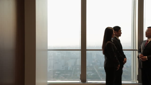 stockvideo's en b-roll-footage met ds ms business people shaking hands by window in office / china - compleet pak