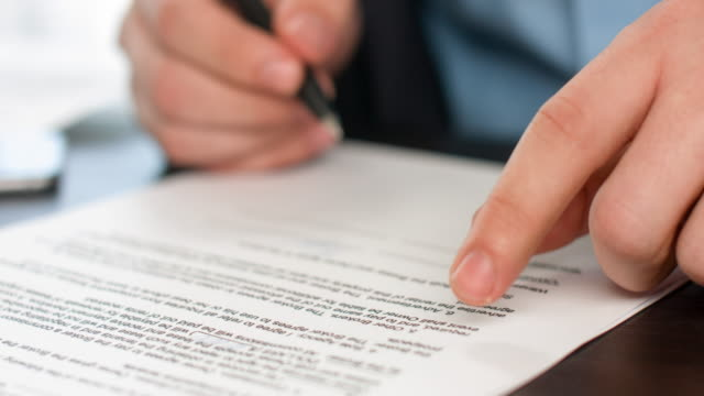 business people signing sales agreement contract. - sign stock videos & royalty-free footage
