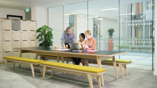 WS business people talking and using laptop in meeting in conference room