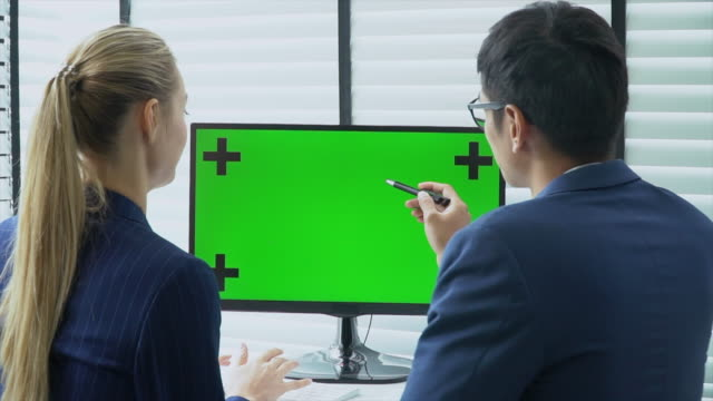 business people talking with green screen - computer monitor mockup stock videos & royalty-free footage